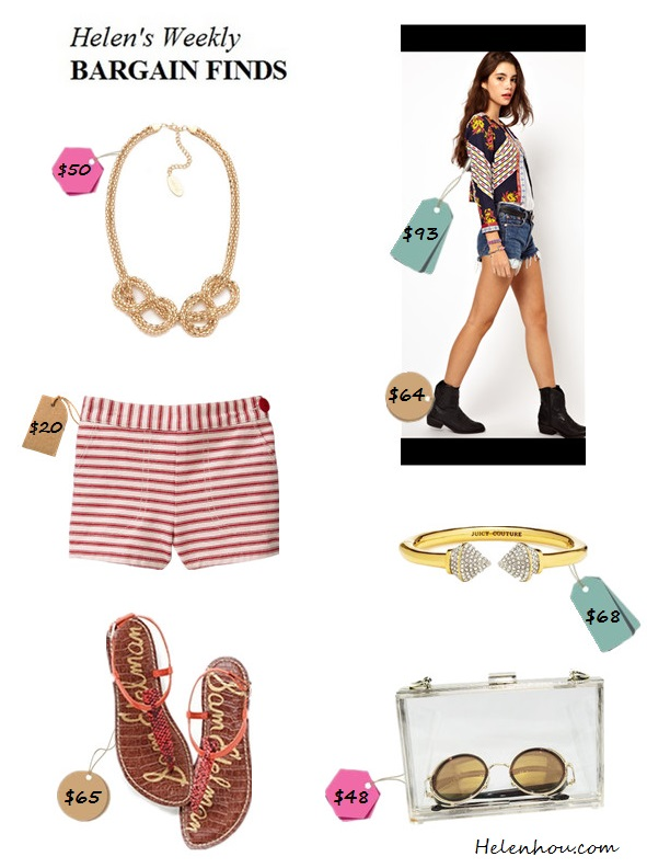 Bargain finds: featured statement necklace, printed jacket,ankle boots,striped shorts,strap sandal,clear bag, spike bangle,