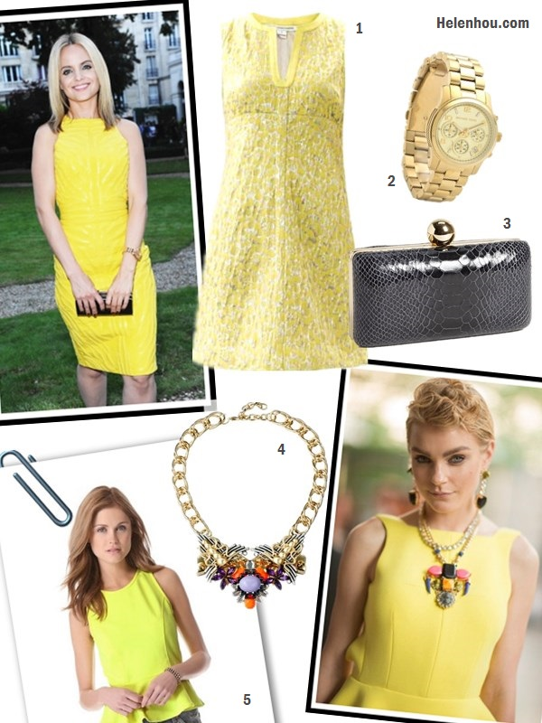 "how to wear yellow dress; Featured: Dawn and Jae Goodman,   Miranda Kerr, Mena Suvari, Olivia Palermo, Jessica Stam,   Olivia Palermo; On Mena Suvari at Versace Atelier Jewelry Cocktail Party :yellow dress, black clutch, gold watch;  On Jessica Stam at 2013 CFDA Fashion Awards: Christian   Louboutin ""Dufoura"" Sandals,Fenton Shinde Eagle Earrings   and necklace,  Alternatives:   1. Diane von Furstenberg metallic jaquared Dress, 2. Michael Kors Sport Watch,  3. Milly clutch,   4. ASOS Pretty Tough statement Necklace  5. Dolce Vita Hyla peplum Top"
