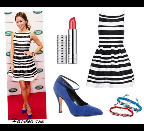How to wear a striped dress, Jamie Chung,Emmy Rossum, red carpet look, street style,spring/summer, black and white, ankle strap pump, Pour La Victoire strappy sandal,Longchamp red bag,  On Jamie Chung:Alice + olivia Cookie Flare Dress, blue Monika Chiang heels, bracelet,  Featured: Alice + Olivia Cookie Sleeveless Pleated Flair Skirt Dress in White/Black,  Christopher Kane blue Suede ankle strap pumps,  Clinique Long Last Soft Shine Lipstick,  Devora Libin Jewels Stella Spike Pave Bead Bracelet