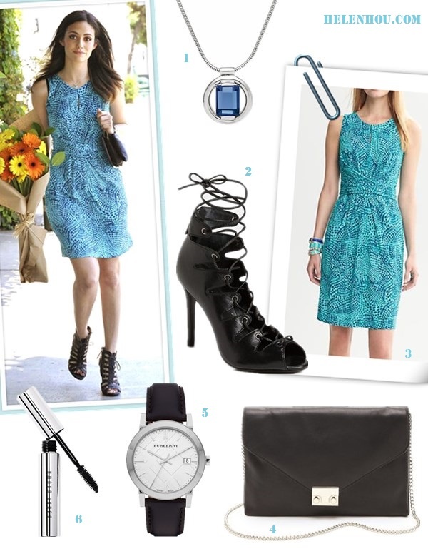 how to wear a printed dress,how to wear animal print, Emmy Rossum, Heidi Klum,Issa Collection wrap dress,leopard dress, strappy sandal, lace up sandal, studded sandal,   On Emmy Rossum: Banana republic Issa Collection Blue Ceramic Printed Wrap-Tie Dress; black lace up cut out sandal, black shoulder bag,  Alternatives:  Coach Small Round Pendant Necklace ,  Schutz 'Slate' lace up cut out Sandal,  Banana Republic Issa Collection Blue Ceramic Printed Wrap-Tie Dress,  Loeffler Randall The Lock Clutch,  Burberry Check Stamped Round Dial Watch,  Bobbi Brown No Smudge Mascara