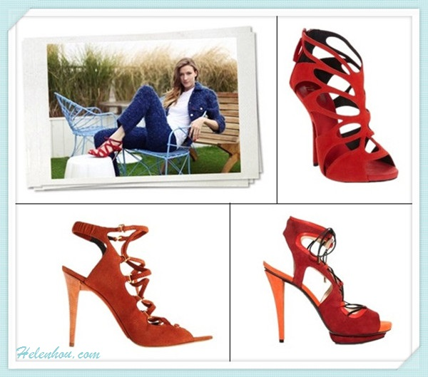 Featured: Kristina Bazan, Shopbop lookbook, Faustine Steinmetz, Aerin Lauder, Teresa Palmer, Teresa Palmer, Angela Scanlon.  blue dress, white bag, polka dot dress, yellow pump, python clutch, pink skirt, red shoes, strap shoes, pearl necklace, spiked jewelry; On Faustine Steinmetz: red lace up heel sandal, jeans, white shirt, blue suit.   Also featured: Giuseppe Zanotti red cutout Platform Sandals,  Burak Uyan Tone-on-Tone Lace-Up Sandal red,  Narciso Rodriguez Lace-Up Sandal