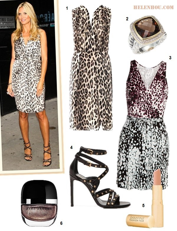 how to wear a printed dress,how to wear animal print, Emmy Rossum, Heidi Klum,Issa Collection wrap dress,leopard dress, strappy sandal, lace up sandal, studded sandal,   On Heidi Klum:  L'Agence leopard print dress, Yves Saint Laurent Leather Studded strap Sandal, cocktail ring  Alternatives:  L'agence Leopard-print sleeveless dress,  David Yurman  Smoky Quartz, Diamond, Sterling Silver & 18K Yellow Gold Ring,  Diane von Furstenberg 'Oblixe' Silk Faux Wrap Minidress,  Yves Saint Laurent Leather Studded Sandal,  Fashion Fair Supreme Lipstick,  Marc Jacobs Beauty Enamored Hi-Shine Nail Lacquer,