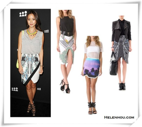 how to wear a sequin skirt; how to wear a asymmetrical skirt; how to wear printed skirt; Blake Lively, Jamie Chung, red carpet look, party outfit, embellished skirt,Christian Louboutin Pigalle, printed skirt, strappy sandal, grey shirt,   On Jamie Chung:gray tee, Finders Keepers printed asymmetrical Skirt, DANNIJO Mallory yellow Necklace, neon-yellow cross-body bag, black strappy heels;  From left:  Shona Joy We Surrender Pencil Skirt  findersKEEPERS You Sent Me Skirt  Peter Pilotto Arrow marble-print pencil skirt