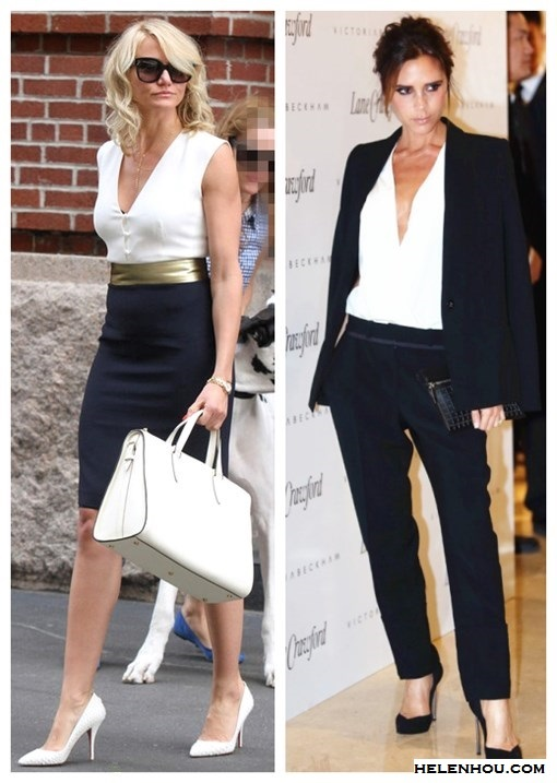 how to wear black and white; What to Wear to Work; summer office wear 2013; Cameron Diaz, Victoria Beckham, colorblock dress, white bag, white pump, white blouse, black blazer, black pants,black pump, black clutch  On Victoria Beckham in Beijing 2013: Victoria Beckham   DOUBLE CREPE BLAZER, Victoria Beckham black pants, Casadei   Blade Valentina Anklestrap Pumps, Victoria Beckham zipped   pouch,white blouse;  On Cameron Diaz: Martin Grant Dana black and white Dress with gold belt, Valextra Heritage Top Handle white Bag, Christian Louboutin white pump, gold watch, oversize sunglasses;