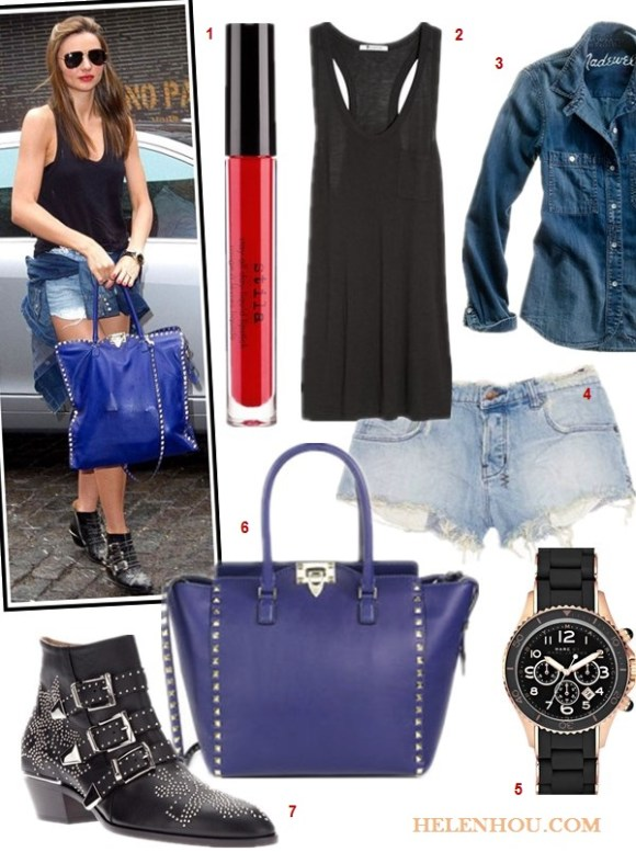 what to wear to the airport, how to wear studded ankle boots, street style, Rosie Huntington-Whiteley, Miranda Kerr, black top, jeans, denim shorts, studded booties, fedora hat, Viktor & Rolf, valentino, Isabel Marant,spring/summer,  On Miranda Kerr: Valentino Studded bag, Ksubi Alberceque distressed denim shorts, Cartier bracelet, Longines watch,T by Alexander Wang classsic tank top, Chloé Susanna studded leather boots;  Alternatives:  Stila Stay All Day® Liquid Lipstick,  T by Alexander Wang Classic Tank with Pocket,  Madewell Western Jean Shirt,    Marc by 'Rock' Chronograph Silicone Bracelet Watch,  Valentino 'Rockstud - Vitello' Double Handle Leather Tote