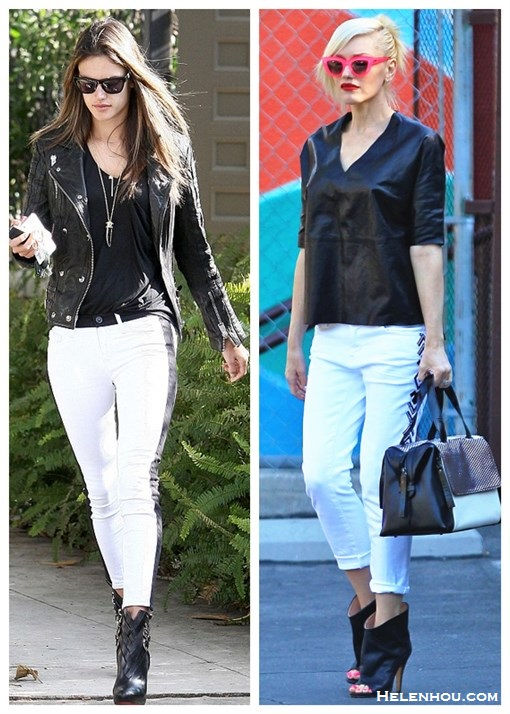 how to wear white jeans, how to wear black and white, how to wear leather, Alessandra Ambrosio, Gwen Stefani, spring/summer, street style, leather jacket, white jeans,ankle boots, peep toe boots, leather top, pink sunglasses,  On Alessandra Ambrosio:Hudson LeeLoo jeans in Vice Versa,anine bing Moto Leather Jacket, Christian Louboutin booties, Wildfox sunglasses, Gorjana Taner necklace;	  On Gwen Stefani:Quay 'Kitti' pink cat eye Sunglasses, L.A.M.B. bag, Maison Martin Margiela black leather peep toe booties, white jeans, black leather top