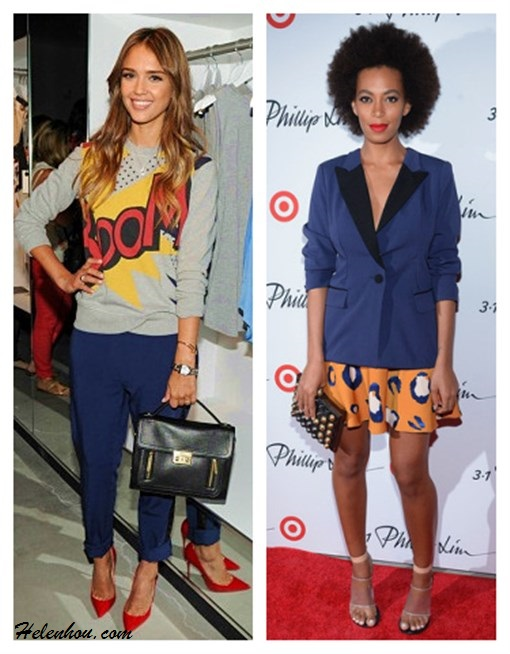 3.1 Phillip Lim for Target, Jessica Alba, Solange Knowles, party outfit ideas,  How to Wear the Sweatshirt Trend, How To Mix And Match Suit Separates,  On Jessica Alba: 3.1 Phillip Lim for Target® French Terry Sweatshirt, 3.1 Phillip Lim for Target® Tuxedo Pant,  Franck Muller watch,   Jimmy Choo Anouk Patent Leather Point Toe Pumps,   3.1 Phillip Lim for Target® Top Handle Crossbody,  On Solange Knowles: 3.1 Phillip Lim for Target® Tuxedo Jacket,  3.1 Phillip Lim for Target® Silky Skirt -Animal Print,   Givenchy Gradient Cone Heel Sandal,