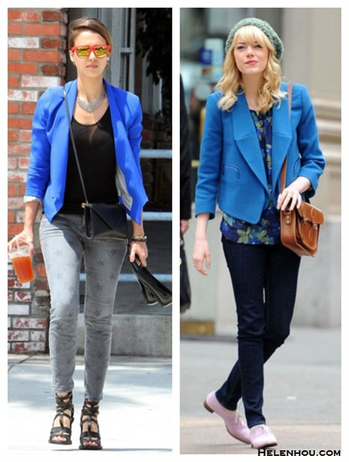 how to wear blue blazer, how to wear a beanie, how to wear printed jeans,  Emma Stone, Jessia Alba, street style, fall/winter, blue blazer, mirror sunglasses, printed jeans, strappy sandal, black crossbody bag, beanie, floral top, black jeans, nude oxford, brown Cambridge Satchel   On Emma Stone: blue CHLOÉ Wool-crepe blazer, Rag & Bone The Skinny black jeans, Cambridge Satchel Company 15? Classic Leather Satchel, nede oxford, beanie,  On jessica Alba:Evelyn blue Blazer by Kate Frances, Current Elliott Stiletto star print skinny jeans,Cobra Society bag, red mirror sunglasses, black strappy sandal;
