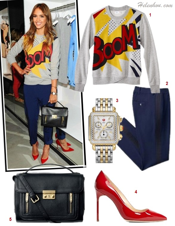 3.1 Phillip Lim for Target, Jessica Alba, Solange Knowles, party outfit ideas,  How to Wear the Sweatshirt Trend, How To Mix And Match Suit Separates,   On Jessica Alba: 3.1 Phillip Lim for Target® French Terry Sweatshirt, 3.1 Phillip Lim for Target® Tuxedo Pant,  Franck Muller watch,   Jimmy Choo Anouk Patent Leather Point Toe Pumps,   3.1 Phillip Lim for Target® Top Handle Crossbody, Also featured:  Michele Deco Diamond' Diamond Dial Two Tone Watch Case, Manolo Blahnik 'BB' Pointy Toe Pump