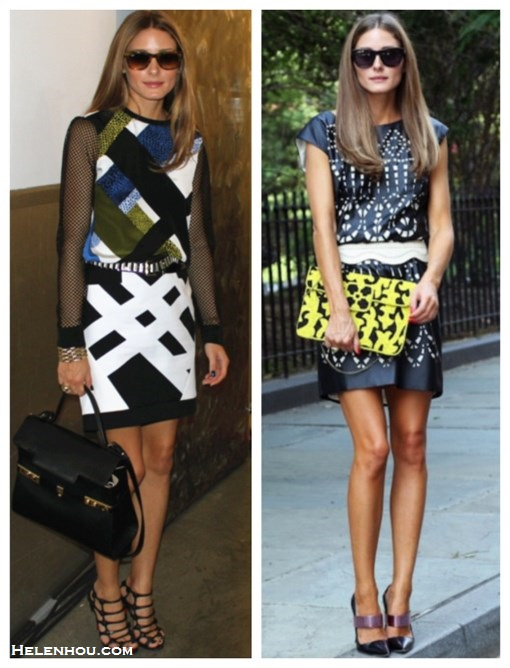 how to style a leather dress, how to wear cut outs, how   to wear See-Through Clothing, black and white, Olivia Palermo, fashion week, street style, front row,  On Olivia Palermo: Tibi Nelio Mesh Sleeve Top, Tibi   Transit Yoked Skirt, Tortoise Wayfarer by Ray-Ban,   Delvaux Tempête MM bag, Christian Louboutin strappy   sandal, embellished belt;  	 On Olivia Palermo: Catherine Malandrino for Kohl's   Laser-Cut Shift Dress, Christian Dior Spring 2013 Mary   Jane Pumps,Westward Leaning Louisiana Purchase   sunglasses, and BCBG Max Azria Whip Stitch Belt;