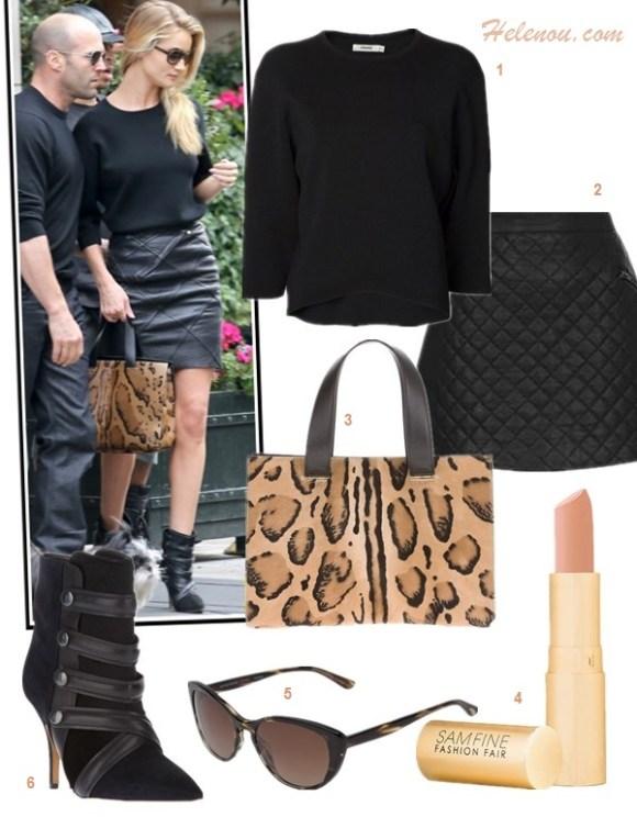 The art of accessorizing-Rosie Huntington,street style, Isabel Marant booties, jbrand crop sweater, leather skirt, GIORGIO ARMANI leopard bag
