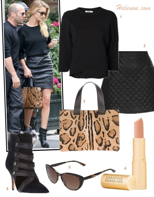 The art of accessorizing-Rosie Huntington,street style, Isabel Marant booties, jbrand crop sweater, leather skirt, GIORGIO ARMANI leopard bag