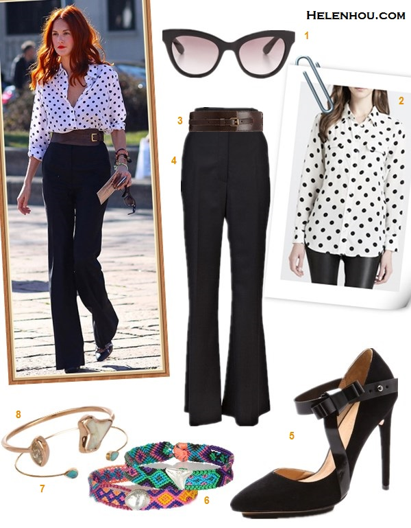 how to wear polka dots, how to wear wide leg pants, how to   wear frill skirt,   On Taylor Tomasi Hill: Equipment polka dot shirt, The Row   high waist black wide leg pants, Michael Kors wide brown   waist belt, Balenciaga leather pump, Dezso by Sara Beltrán friendship bracelet;  Featured:  Marc by Marc JacobsRounded Cat Eye Sunglasses,  Equipment Signature Polka-Dot Blouse,  LINEA PELLE Luna Belt,  THE ROW VAULT Dashford trouser,  L.A.M.B.Nadeen Mary Jane Pumps,  Dezso By Sara Beltran Blues Shell woven-cotton and silver friendship bracelet,  Dezso By Sara Beltran Opal Petite Cuff,  Dezso By Sara Beltran Shark Tooth & Marquis Diamond Petite Cuff Ring