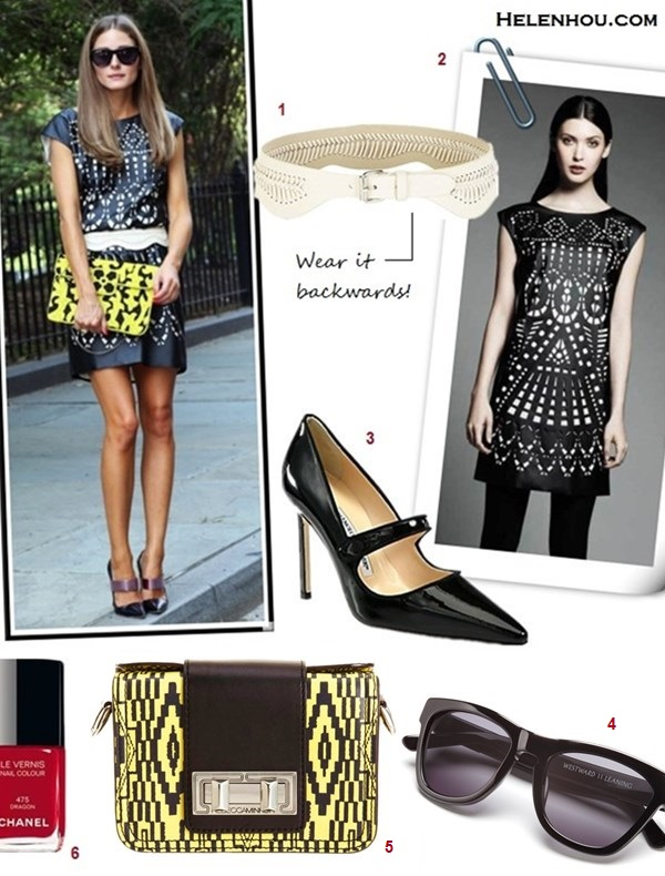 how to style a leather dress, how to wear cut outs, how   to wear See-Through Clothing, black and white, Olivia Palermo, fashion week, street style, front row,  On Olivia Palermo: Catherine Malandrino for Kohl's   Laser-Cut Shift Dress, Christian Dior Spring 2013 Mary   Jane Pumps,Westward Leaning Louisiana Purchase   sunglasses, and BCBG Max Azria Whip Stitch Belt;  	  1. BCBG (US)Cutout-Detail Scalloped Waist Belt, 2. KohlsCatherine Malandrino for DesigNation Laser-Cut Shift Dress , 3. Manolo Blahnik Campari Patent Leather Mary Jane Pumps , 4. Westward Leaning Louisiana Purchase Sunglasses, 5. Rebecca Minkoff Tribal Print Sammy Mini Box Bag ,