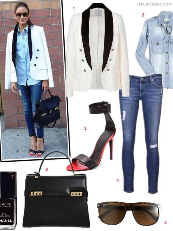 how to wear denim on denim; olivia palermo, street style, new york fashion week 2014;   On olivia palermo: BCBG white tuxedo blazer, Top Shop denim shirt, AG distressed jeans, Tibi black and red Ankle Strap Heels, Delvaux Tempête MM black leather bag, leopard sunglasses;   Featured: Iro Calixa colorblock white tuxedo Blazer,  Current/ElliottThe Perfect chambray Shirt,  Tibi Carine Ankle Strap Sandals,  AG Adriano Goldschmied distressed Jeans,  Ray-ban 'High Street' Sunglasses,  Delvaux Tempête MM bag,  Chanel NAIL COLOUR