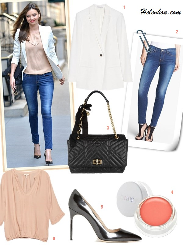The art of accessorizing-street style, miranda kerr,white blazer, lavin bag, Frame Denim jeans,Manolo Blahnik black pump