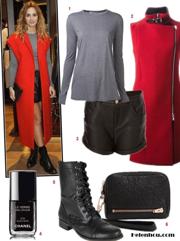 The art of accessorizing-Alexia Niedzielski, combat boots, grey T-shirt, leather shorts, black clutch,red sleeveless coat