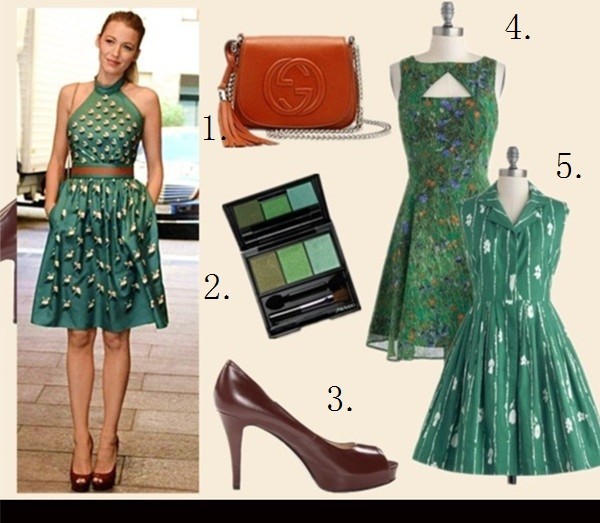 fall 2013 holiday party outfit ideas,How to Wear Fall Colors,how to wear emerald green, halter neck dresses,  Blake Lively, fashion week 2014, party outfit idea, fall/winter, yellow gucci dress, brown sandal heel, nude clutch, green embellished gucci dress, gucci crossbody bag, gucci peep toe sandal, On Blake Lively at Gucci spring/summer 2014 show: Gucci green blue alter neck embellished dress, Gucci Soho Leather Chain Crossbody Bag, gucci Patent Leather Platform Peep-Toe Pump, Featured:  bag Gucci Soho Leather Chain Crossbody Bag,   Shiseido Luminizing Satin Eye Color Trio Gr305 Jungle,  Nine WestNINE WEST peep toe heel,  modcloth green cut out SLIDESHOW AND TELL DRESS, modcloth   mod2 grass green printed BAKE SHOP BROWSING DRESS