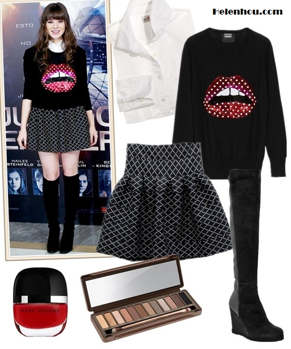 The art of accessorizing-Hailee Steinfeld,Markus Lupfer Lips sweater, skater skirt, Stuart Weitzman  boots