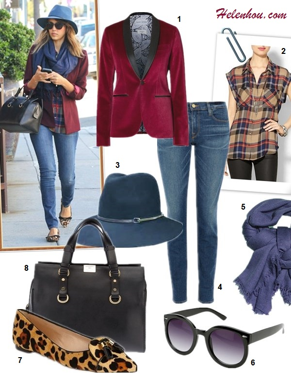 The art of accessorizing-Jessica Alba,burgundy blazer, skinny jeans, leopard flat, black tote, blue fedora, blue scarf, plaid shirt