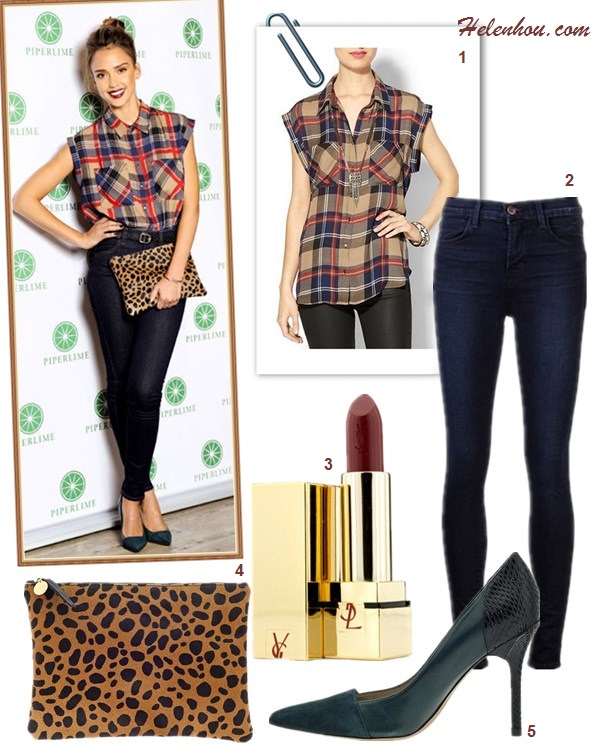 The art of accessorizing-Jessica Alba,skinny jeans, plaid shirt, leopard clutch, Sam Edelman green pump