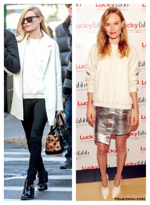 Kate Bosworth for Topshop collection, how to wear winter   white, how to wear white leather, how to wear a metallic   skirt,      Kate Bosworth on the street at New York: topshop'The   Collection Starring Kate Bosworth' white Leather Coat,   topshop leather sweater, topshop black leather booties,   Burberry Prorsum crush RINTED CALF HAIR AND LEATHER TOTE   bag, Karen Walker sunglasses;  Kate Bosworth for lucky magazine: topshop'The Collection   Starring Kate Bosworth' white leather sweater, silver   asymmetrical hem skirt, Stella McCartney Wedge Bootie,