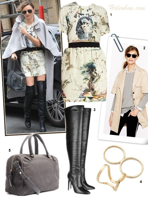 how to wear over the knee boots, how to wear frills/ruffle hem skirt, how to wear prints, how to wear a cape,  Miranda Kerr, street style, fall/winter, cape coat, printed top, printed skirt, over the knee boots, grey coat, grey sweater,  On Miranda Kerr: BALENCIAGA Sphinx Tee,BALENCIAGA Spinx Print Mini Skirt, Balmain grey suede bag, Chloe light grey cape coat, Oliver Peoples aviator sunglasses, Hermes over the knee boots,   also Featured:   2. J.Crew COLLECTION CAPE TRENCH,  3. Alexander Wang SOFIA NAPPA LEATHER OVER-THE-KNEE BOOTS,  4. Jules SmithEDIE KNUCKLE RING & CampbellKNUCKLE FLOATING RING,  5. See by ChloéMATTIE GREY SUEDE BOWLER BAG,