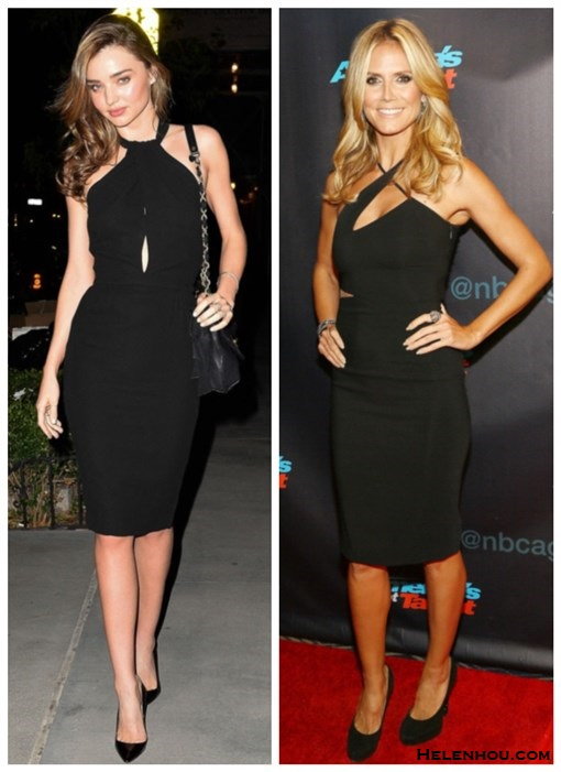 how to wear cutout, little black dress,2013 party outfit   ideas,   Miranda Kerr, Heidi Klum, black cut out  halter neck dress, party outfit, black pump, night out wear,Lanvin, Versace,Jimmy Choo,  On Miranda Kerr:Lanvin quilted 'Happy bag,Giambattista   Valli Cady Halter black Dress,black patent leather pointy   toe pump;  On Heidi Klum: black Versace String Cut Out Dress, Jimmy   Choo Cosmic suede pumps,Jimmy Choo Cosmic suede   pumps,cocktail ring, diamond bracelet,