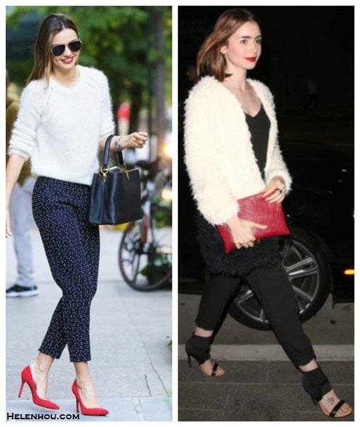 The art of accessorizing-Miranda Kerr, Lily Collins, white sweater, printed pants, red pump, white fur coat, jumpsuit,Louis Vuitton bag