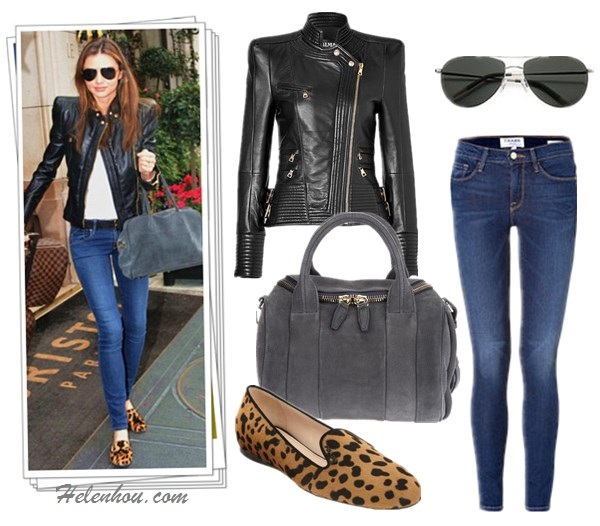 How to wear a leather biker jacket, how to wear leopard,   how to wear slipper loafer,  Miranda Kerr,street style, fall/winter,fashion week, On Miranda Kerr: Balmain Leather biker jacket,Oliver   Peoples aviator sunglasses,balmain grey suede bag,   balmain black belt, Prada leopard loafer, white tank top;  On Miranda Kerr:Givenchy Antigona Satchel Bag Medium,   Frame denim Le Skinny de Jeanne Jeans,Givenchy black   ballet flat, Oliver Peoples aviator sunglasses, black   tank top, red lip color,   Also featured:  Alexander Wang Rockie Duffel Bag