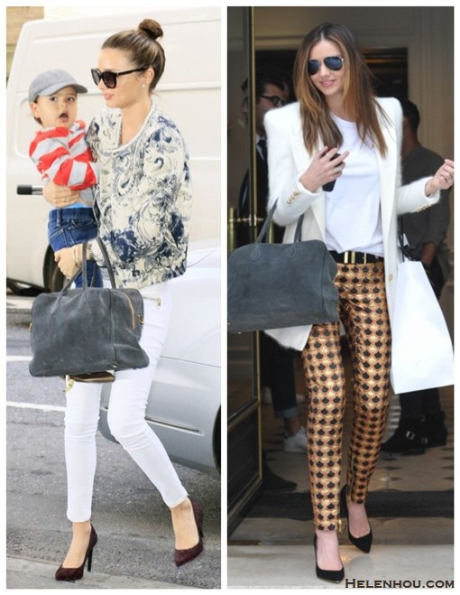 how to wear: white in fall/winter, printed pants, bomber jacket, white skinny jeans,   Miranda Kerr, paris fashion week, street style, fall/winter, printed bomber jacket, white jeans, black pump, grey bag, white jacket, printed pants  on Miranda Kerr:Mango Super slim-fit zip white jeans, MCS   Elena and Zoe & Morgan bracelet, Rolex watch, Balmain   Pierre grey suede bag, Marc Jacobs cat eye sunglasses,   Proenza Schouler black pump,printed jacket, grey shirt,   on Miranda kerr: Balmain white Wool blazer, BALMAIN pointy toe black pump, balmain grey suede bag, BALMAIN black and gold leather belt, Oliver Peoples aviator sunglasses, Balmain printed jacquard pants