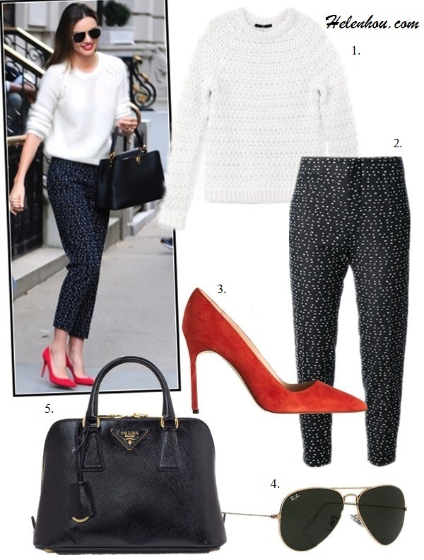 The art of accessorizing-Miranda Kerr, white sweater, printed pants, red pump,  aviator sunglasses, Louis Vuitton bag
