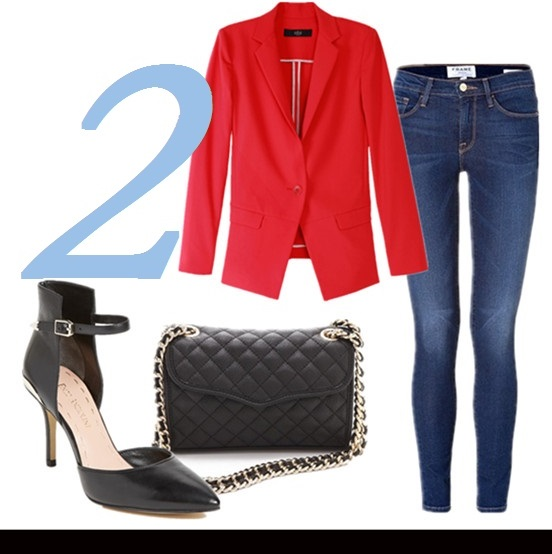 how to wear a red blazer,how to wear lace,how to wear gingham,  Olivia Palermo, Natalia Vodianova, street style,fashion week, fall/winter, Christian Dior, valentino, stella mccartney, lace skirt, colorblock pump, skinny jeans, ankle strap pump,   Featured: TIBI Maverick Suiting Solid red Jacket,  Frame Denim 'Le Skinny de Jeanne' Jeans, Enzo Angiolini 'Caswell' ankle strap Pump, Rebecca Minkoff Quilted Mini Affair Bag