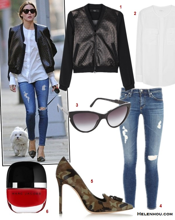 how to wear a bomber jacket, how to wear a leather skirt,  Olivia Palermo, street style, fall/winter bomber jacket, distressed jeans, white shirt, black blouse, leather skirt, leopard pump, camo heel,   On Olivia Palermo: Susan Woo white shirt,  tibi DIAMOND QUILTING BOMBER JACKET, AG Adriano Goldschmied The Legging Ankle distressed Jeans, Gianvito Rossi Camouflage-print pony hair pumps,  also featured:   2. Equipment LYNN CREW NECK BLOUSE,  3. Stella McCartneyOVERSIZED CAT EYE SUNGLASSES,  6. MARC JACOBS BEAUTY ENAMORED HI-SHINE NAIL LACQUER