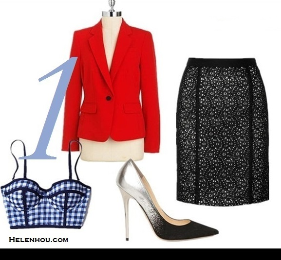how to wear a red blazer,how to wear lace,how to wear gingham,  Olivia Palermo, Natalia Vodianova, street style,fashion week, fall/winter, Christian Dior, valentino, stella mccartney, lace skirt, colorblock pump, skinny jeans, ankle strap pump,   Featured: Anne Klein one button red blazer, Anthropologie gingham bustier, DKNY eyelet lace pencil skirt,  Jimmy Choo 'Abel' black and white dip dye degrade colorblock Pump,