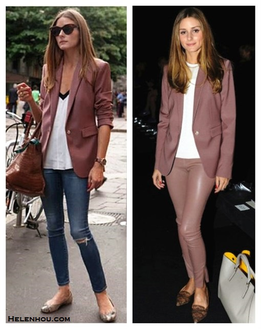 how to wear a pant suit, how to wear leather pants, how to wear colored blazers,   Olivia Palermo, paris fashion week, street style,   fall/winter,  On Olivia Palermo: Reiss Laurel Oak Tailored Jacket,AG   Adriano Goldschmied The Legging Ankle Jeans,Tibi   Colorblock Silk Camisole,Pretty Ballerinas Angelis   Ballerina flats, Zagliani Gatsby Bag,  On Olivia Palermo: Reiss Laurel Oak Tailored Jacket,THE ROW pink Stretch-Leather Leggings,Anya Hindmarch greay bag with yellow lining, pinted pointy toe loafer flat, white top