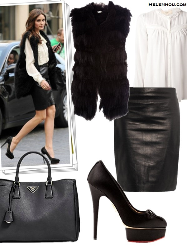 how to wear a fur vest, how to wear leather, 	  Olivia Palermo, street style, fashion week, fur vest, skinny jeans, ankle boots, white blouse, black box clutch, necklace, gold bracelet,  leather skirt, Charlotte Olympia pump,hermes bag, louis vuitton red bag, leather pants, booties, yellow clutch, Manolo Blahnik pump, cat eye sunglasses,black sweater featured: maxstudio WOVEN FUR VEST-M-BLACK,  Vanessa Bruno Athe VANESSA BRUNO ATHE PLEATED BLOUSE,  Diane von Furstenberg 'Rita 2' Leather Pencil Skirt,  Charlotte Olympia Fonteyn Satin Platform Pump,  Prada Saffiano Lux Tote Bag,