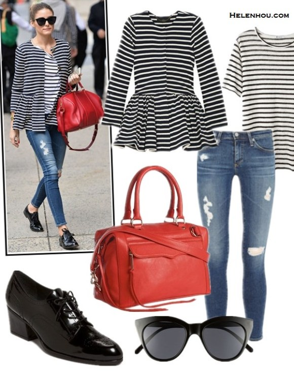 how to wear a striped blazer, how to wear distressed jeans, how to wear menswear,  Olivia Palermo, street style, fall/winter stripe blazer, stripe t shirt, AG distressed jeans, black oxford, red louis vuitton bag, printed dress, orange red ballet flat, pink clutch, sunglasses,  On Olivia Palermo: TIBI Peplum-waist striped cotton jacket, AG Adriano Goldschmied distressed JEANS, Louis Vuitton bag, YOiM furfur lace up oxford, Le Specs sunglasses, 	  Featured:   T by Alexander Wang Stripe Linen Tee Ink And Ivory,   Rebecca MinkoffREBECCA MINKOFF - MAB MINI ,  Stuart Weitzman 'Suitable' Oxford ,  Le SpecsLE SPECS - HALFMOON MAGIC EYEWEAR
