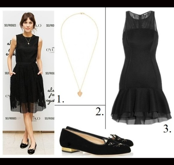 party outfit ideas 2013; How to Wear a Little Black Dress ,  On Alexa Chung: Carven's Resort 2014 collection black sleeveless grid  dress, heart-shaped pendant necklace,Charlotte Olympia 'Kitty' flats., Featured: 1. BAUBLEBAr SARAH CHLOE MAYA HEART PENDANT,  2. CHARLOTTE OLYMPIA 'KITTY' FLAT,  3. Mesh-paneled scuba mini dress by: DKNY,