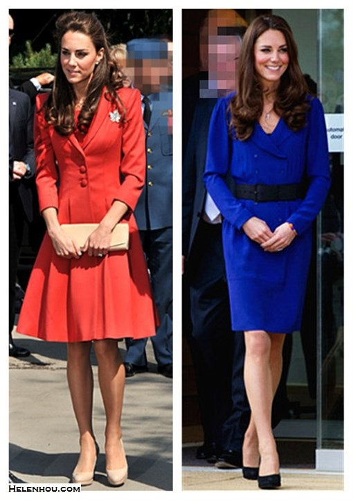 Kate Middleton style,party outfit ideas 2013, reiss cobalt blue dress coat, navy suede pump, suede belt, red coat dress, nude pump, beige clutch, leaf brooch,     On Kate Middleton: Catherine Walker red coat dress, The   Queen's Canadian leaf brooch,LK Bennett cream   shoes.,Russell & Bromley clutch,  On Kate Middleton: reiss blue coatdress, navy suede pump, navy suede belt,