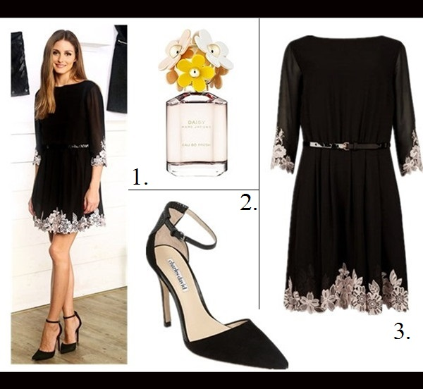 party outfit ideas 2013; How to Wear a Little Black Dress ,  On Olivia Palermo: black floral embroidered Ted Baker London Feay Dress,ankle strap pump,  Featured: 1. MARC JACOBS 'DAISY EAU SO FRESH' EAU DE TOILETTE,  2. Charles by Charles David Charles David 'Gillian' Pump ,  3. Ted Baker London Feay Dress - Black,