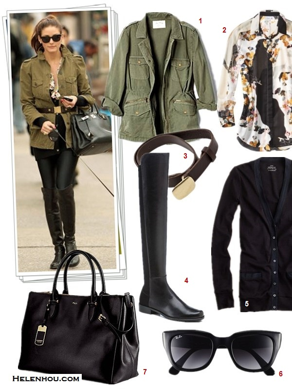 how to wear camo pants, how to wear army/military jackets, how to wear over-the-knee boots,  		   On Olivia Palermo:zara military army jacket,Givenchy 'Antigona' medium tote,True Religion Casey Camouflage-Print Skinny Pants, black ballet flat, burgundy plum skinny belt, On Olivia Palermo: zara military army jacket, tibi belt, Ted Baker boots,Rebecca Taylor floral blouse,hermes bag,ray ban wayfarer sunglasses,  Featured:  1. Velvet LILY ALDRIDGE FOR VELVET RUBY JACKET ,  2. Target3.1 PHILLIP LIM FOR TARGET® LONG-SLEEVE BLOUSE,  3. Rag & Bone - Army Belt , 4. Stuart Weitzman50/50 NAPA STRETCH OVER-THE-KNEE BOOT,  5. J.Crew PERFECT-FIT MIXED-TAPE CARDIGAN,  6. ray ban 52MM RETRO SUNGLASSES,  7. Ralph LaurenNEWBURY DOUBLE-ZIP SATCHEL,