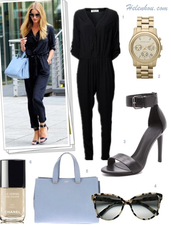 How to wear a jumpsuit, how to wear bomber/varsity jackets, fall pastel trend, 	 ,   On Rosie Huntington-Whiteley: Gerard Darel black silk jumpsuit, Giorgio Armani bag, Michael Kors strappy sandals and Miu Miu sunglasses.  On olivia palermo: Hive & Honey Varsity Colorblock Jacket,Sam and Lavi black jumpsuit , Christian Dior black ankle booties, BCBG brown gold belt,  Featured:  1. Sam & LaviSAM & LAVI JUMPSUIT - BLAIR BUTTON FRONT ,  2. MICHAEL KORS 'RUNWAY' CHRONOGRAPH WATCH, 3. Tibi Amber Ankle Strap Sandals , 4. STELLA MCCARTNEY|GREY GRADIENT SUNGLASSES IN GREY SPOTTY TORTOISE,  5. Giorgio ArmaniGIORGIO ARMANI TOTE BAG,  6. Chanel nail color in 'Frenzy',