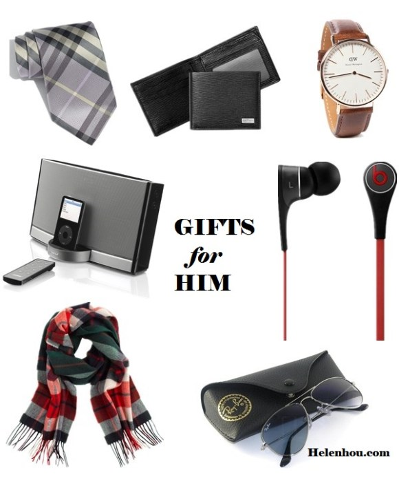2013 Gift Ideas for Every Budget; Gifts for her: mom, wife, sisters,girlfriend; Gifts for him:Husband, Boyfriend, Dad, or Brother; Gifts for Yourself; Best Gifts under $50; Featured:  Clockwise from top left: Burberry London woven silk tie, Salvatore Ferragamo stamped calf wallet, Daniel Wellington Bristol watch, Beats by Dr. Dre 'Tour' headphones, Ray-Ban aviator sunglasses, J.Crew cashmere plaid scarf , Bose sounddock portable digital music system,