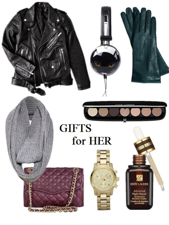 2013 Gift Ideas for Every Budget; Gifts for her: mom, wife, sisters,girlfriend; Gifts for him:Husband, Boyfriend, Dad, or Brother; Gifts for Yourself; Best Gifts under $50; Featured:  Clockwise from top left:  BLK DNM Motorcycle jacket, DVF X HVN cat headphones, Coach basic glove, Marc Jacobs The Lolita Palette, Estée Lauder 'Advanced Night Repair' synchronized recovery, Michael Kors watch, Rebecca Minkoff quilted mini Affair bag, Alice + Olivia heavy rib infinity scarf