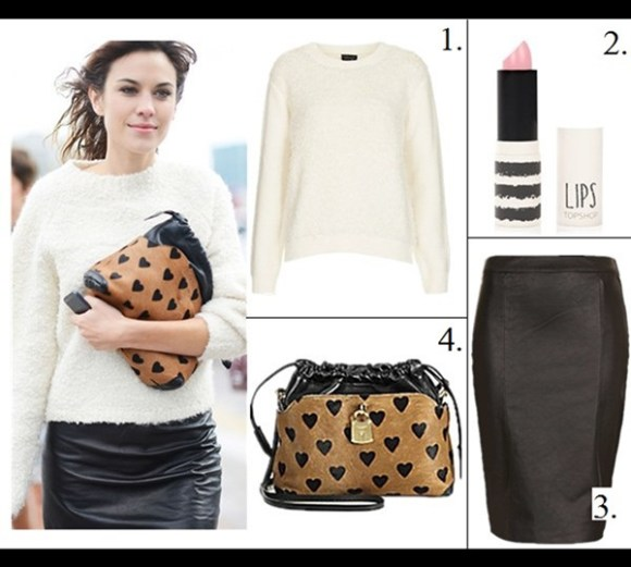 how to style chunky sweaters,  On Alexa Chung at fashion week:white jumper/sweater, black leather pencil skirt, mulberry The Little Crush in Heart Print Calfskin and Leather,   celebrity street style, model off duty style, fall/winter,   Featured: 1. Topshop Loop Stitch Sweater, 2. Topshop Lips in 'Saint', 3. Topshop Black Leather Pencil Skirt, 4. Burberry The Little Crush,