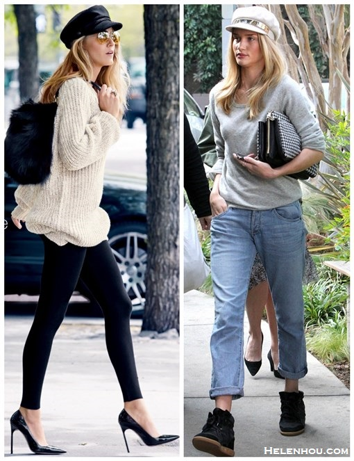 how to wear boyfriend jeans, how to wear chunky sweaters, how to wear fisherman/newsboy cap,   Blake Lively,Rosie Huntington-Whiteley,   On Blake Lively: beige chunky sweater by H&M; INSTANTLY SLIMMING black leggings by WHITE HOUSE BLACK MARKET; WOOL BLEND black newsboy cap by H&M, RAY-BAN AMBERMATIC aviator sunglasses, MANOLO BLAHNIK bb pump,HOOP EARRINGS  On Rosie Huntington Whiteley:  Equipment Sloane grey Sweater,  Citizens of Humanity Dylan boyfriend Jeans,  Chloe Lucy Houndstooth Tweed Bag,   Isabel Marant Betty Sneakers,Halleh 18-karat gold diamond ring,