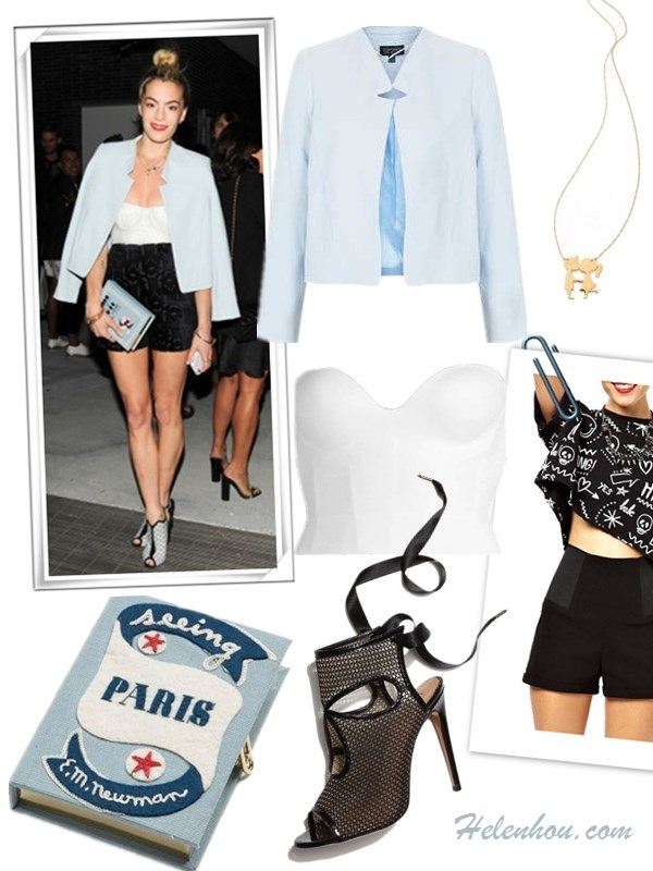 how to wear fall pastels, how to wear baby blue, how to wear leather skirt,  On Mandy Moore at  Topshop Holiday Celebration: pink blue, lilac sweater, Topshop LEATHER CALF PENCIL SKIRT ,Topshop ALBERTINA KITTEN HEEL BOOTS,Graziela Gems earrings,black embellished black clutch;  On Chelsea Leyland At a post-show dinner for Diane von Furstenberg: Topshop jacket; Wes Gordon top; Orla Kiely shorts; Olympia Le-Tan clutch; SUNO x Nicholas Kirkwood shoes. 	 Featured;  TOPSHOP CREPE NOTCH NECK JACKET, Olympia Le-Tan 'Seeing Paris' Limited Edition Clutch, ModCloth GOWN TIME CORSET IN CROPPED LENGTH, AquazzuraTIE-BACK MESH PATENT BOOTIE, Jennifer Zeuner JewelryBOY/GIRL KISSING NECKLACE