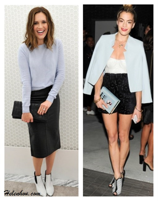 how to wear fall pastels, how to wear baby blue, how to wear leather skirt,   ,   On Mandy Moore at  Topshop Holiday Celebration: pink blue, lilac sweater, Topshop LEATHER CALF PENCIL SKIRT ,Topshop ALBERTINA KITTEN HEEL BOOTS,Graziela Gems earrings,black embellished black clutch;  On Chelsea Leyland At a post-show dinner for Diane von Furstenberg: Topshop jacket; Wes Gordon top; Orla Kiely shorts; Olympia Le-Tan clutch; SUNO x Nicholas Kirkwood shoes.