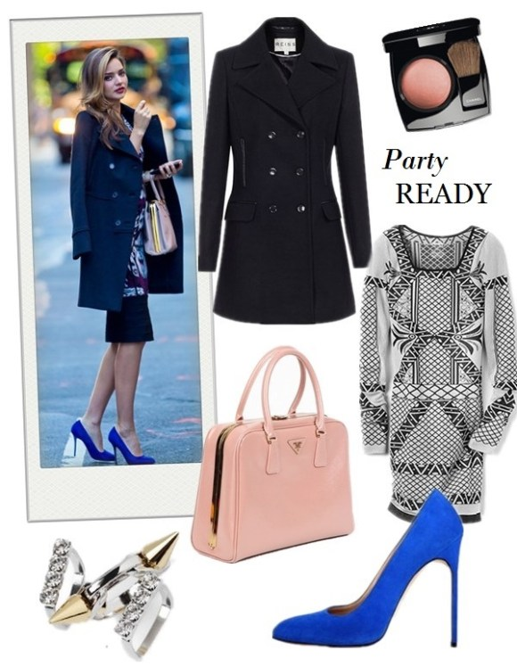 what to wear to a party, party outfit ideas 2013,how to wear a printed dress,   party outfit, fall/winter,  Olivia Palermo, Miranda Kerr, printed dress, Python blouse, ankle strap pump, double breast coat, blue pump, Prada Saffiano, pink top-handle bag, On Miranda Kerr: Prada Pyramid Frame Bag,Givenchy double breast coat, Manolo Blahnik bb suede pump, Herve Leger By Max Azria printed dress,    Also Featured:  Free PeopleBELLA COACHELLA INTARSIA DRESS,  Manolo BlahnikBB SUEDE PUMP,  Reiss CHARISE DOUBLE BREASTED COAT, Prada Saffiano Vernice Frame Pyramid Top-Handle Bag,  Chanel JOUES CONTRASTE POWDER BLUSH , Joomi Lim3 STACK SPIKE AND CRYSTAL RING